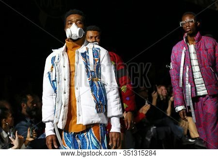 Kyiv, Ukraine - February 5, 2020: Models Present A Collection Of Clothes By Designer Iron Thread Dur