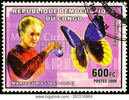 Moscow, Russia - February 17, 2020: Stamp Printed In Congo, Shows Marie Curie (born Maria Sklodowska
