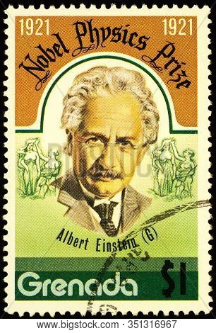 Moscow, Russia - February 17, 2020: Stamp Printed In Grenada, Shows Albert Einstein (1879-1955), Ger