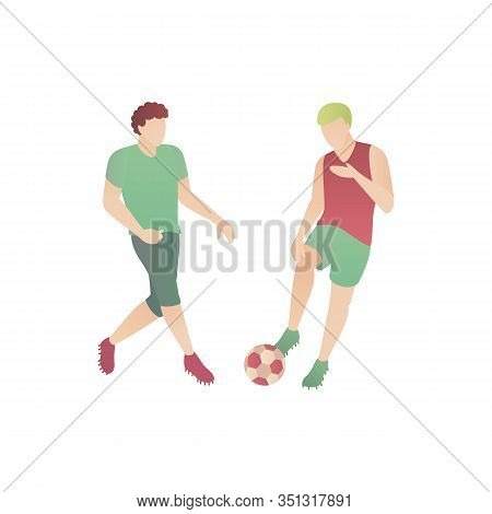 Man Play Football, Flat Vector Illustration. Two Boys Have Fun Outdoors In A Park Playing With A Soc