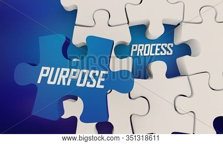 Purpose Over Process Puzzle Pieces Put Customer First 3d Illustration