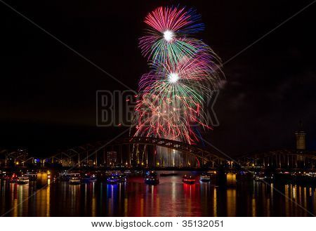 Colorful Firework Over The Rhine