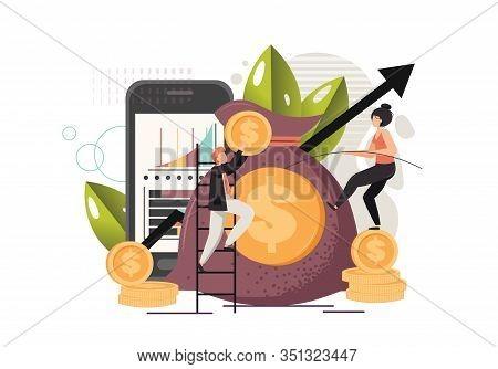 Money Bag, Vector Flat Style Design Illustration