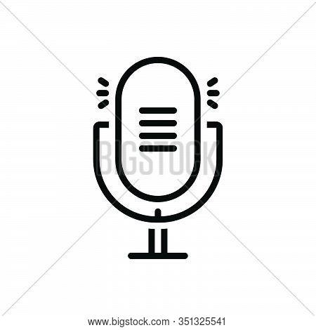Black Line Icon For Microphone Speaker Mike Vintage Performance Equipment Resonator Plug Record Conc