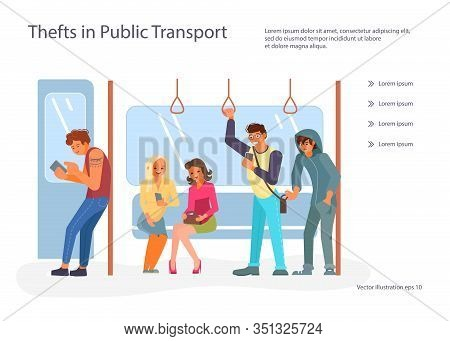 Landing Web Page Template With Passengers Using Their Mobile Devices In Public Transport. Thief Pick