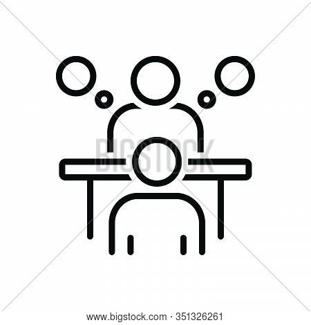Black Line Icon For Consultation Appointment Conference Deliberation Advice Counsel Rede Inference M