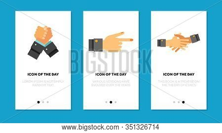 Teamwork Hand Gestures Flat Icon Set. Agreement, Help, Nonverbal Isolated Vector Sign Pack. Motion A