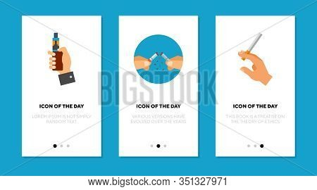 Smoking And Vaping Flat Icon Set. Nicotine, Lung, Stick Isolated Vector Sign Pack. Vicious Habit And