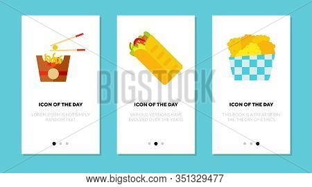 Street Food Flat Icon Set. Fast, Frying, Crispy Isolated Vector Sign Pack. Culinary And Cooking Conc