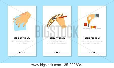 Working With Details Flat Icon Set. Profession, Tool Isolated Vector Sign Pack. Hobby And Craftwork