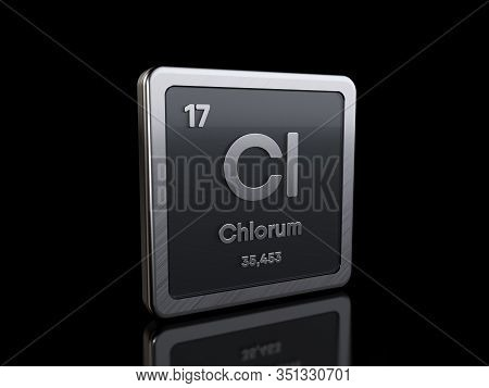 Chlorine Cl, Element Symbol From Periodic Table Series. 3d Rendering Isolated On Black Background
