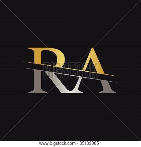 Abstract Letter RA Logo Design Vector Template. Creative Gold and Silver Colors RA Letter Logo Design