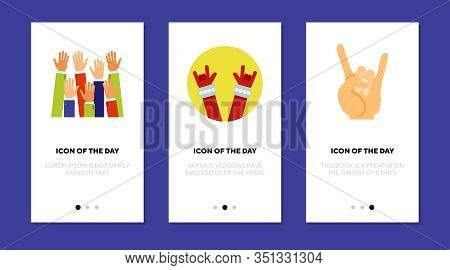 Hands Up Flat Icon Set. Gesture, Cool, Nonverbal Isolated Vector Sign Pack. Movement And Symbol Conc