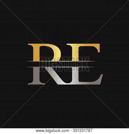 Abstract Letter RE Logo Design Vector Template. Creative Gold and Silver Colors RE Letter Logo Design