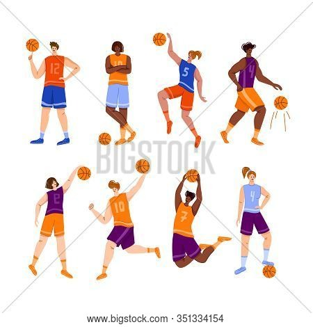 Basketball Players With Ball - Set Of Isolated People African American And White Women And Men Playi