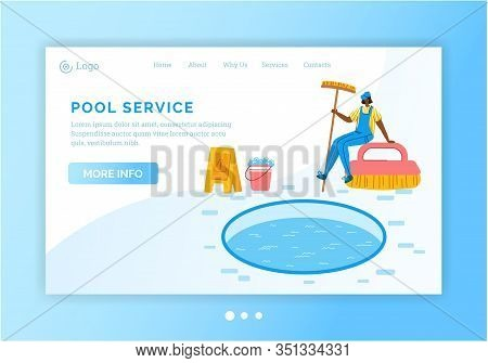 Landing Page - Pool Maintenance Or Cleaning Service, Girl Clean Swimming Pool With Brush And Soap, T