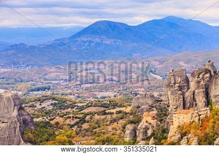 Monasteries On Cliff In Meteora, Monastery Of Rousanou And St. Nicholas Anapausas, Thessaly Greece.