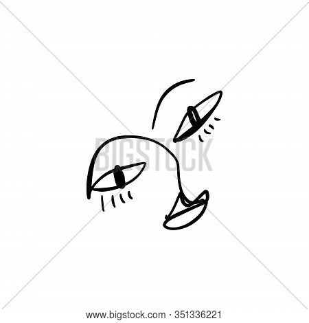 Modern Abstract Line Face Portrait, Linear Brush Art. Picasso Inspired Style. Lineart Human Symbol,
