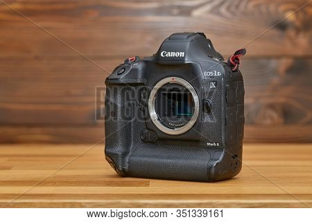 BUDAPEST, HUNGARY - DECEMBER 12, 2019: Canon EOS 1Dx mark II, Canon's flagship DSLR, without lens, exposed image sensor