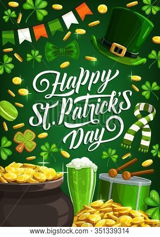 Happy Saint Patrick Day, Luck Shamrock And Leprechaun Gold Coins In Cauldron Pot Poster. Vector St P