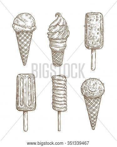 Ice Cream With Waffle Cone And Stick Sketches Of Food Design. Vector Chocolate, Vanilla And Strawber