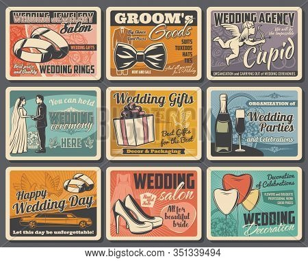 Wedding Rings, Bride And Groom With Vector Gifts, Flower Bouquets And Hearts, Love Couple, Marriage