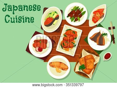 Japanese Cuisine Fish Dishes With Soy Sauce And Chopsticks. Sea Bass Stew With Green Herbs, Fried Ma
