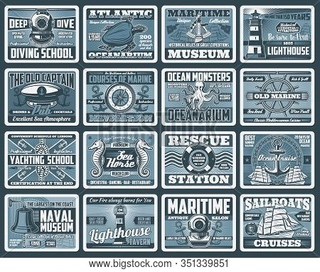 Nautical And Sea Travel Vector Design. Anchors, Helms And Ropes, Sail Boat Compass, Chain And Sailor