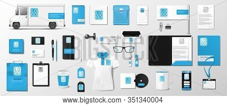 Corporate Identity Template Design. Blue And Black Business Stationery Mockup For Your Brand. Realis