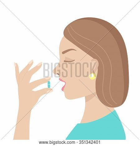 A Young Woman Takes A Pill.medicine, Vitamins, Supplements.antiviral Agent, Coronavirus, Treatment O