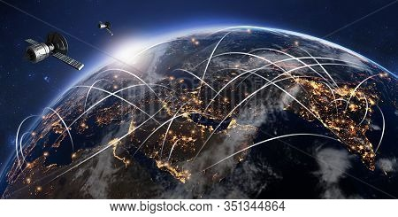 3d Illustration Of Conceptual Global Communication Network. Gps Satellite Antennas Orbiting Planet E