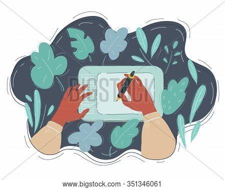 Hands Of Digitither. Cg Artist Concept On Dark