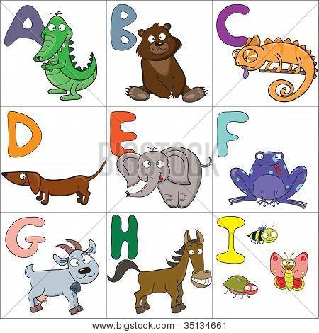 Alphabet With Cartoon Animals 1
