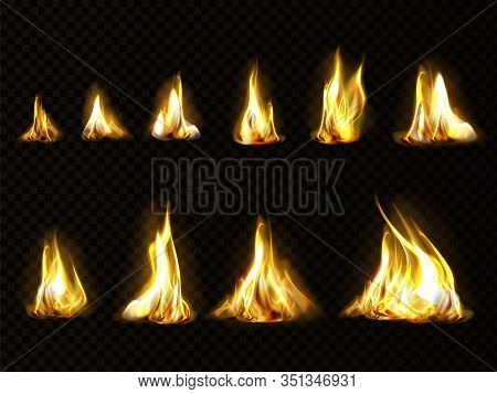 Realistic Fire Set For Animation, Torch Flame Isolated On Transparent Background. Burning Blaze Effe