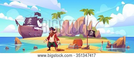 Pirate On Island With Treasure, Bearded Smiling Filibuster Captain With Hook Hand And Wooden Leg Pro