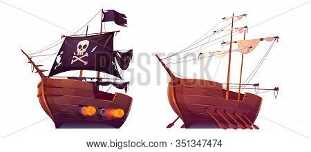 Pirate Ship And Slave Galley With Oars Isolated On White Background. Wooden Boats With Black And Whi