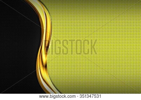 Yellow And Black Carbon Fiber And Gold Curve Chromium Frame. Metal Background And Texture. Material