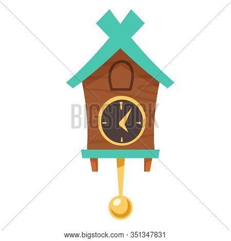 Old Cuckoo Clock. Vector Cartoon Illustration Of Wooden Grandfather Wall Clock With Gold Pendulum An