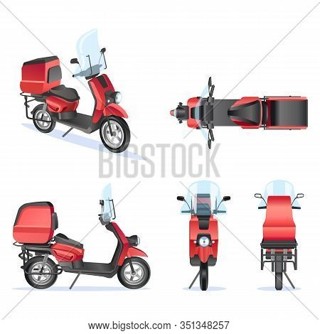 Motorbike 3d Vector Template For Moped, Motorbike Branding And Advertising. Isolated Motorbike Set O