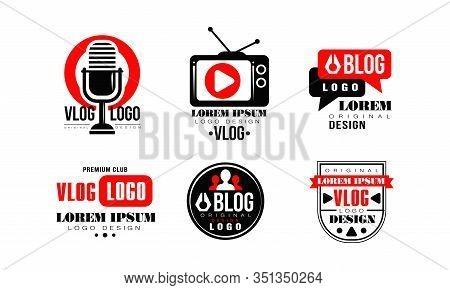 Vlog Logo Design Collection, Video Blog Channel Button Vector Illustration