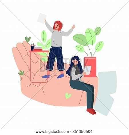 Tiny Businesswomen Working On Giant Hand, Office Staff Care, Support, Professional Growth, Personnel