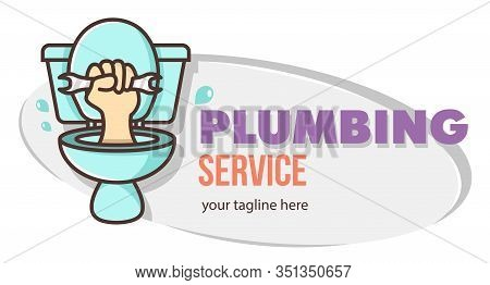 Funny Humor Concept Hand Holds A Wrench Climbs Out Of The Toilet. Plumbing Service Sign. Design For