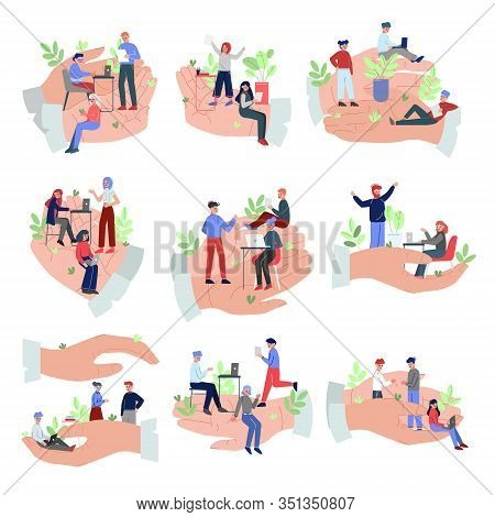 Giant Hands Protecting Office Employees Set, Office Staff Care, Support, Professional Growth, Person