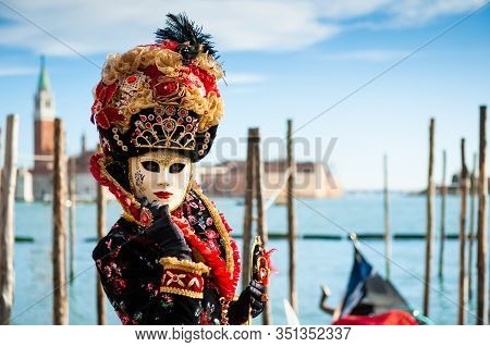 Beautiful Colorful Masks At Traditional Venice Carnival In February 2020 In Venice, Italy