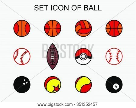 Icon Set Balls Of Sports And Others Including Basketball, Billiard Ball, Pokemon Ball , Football Bal