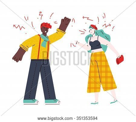 Couple Quarrelling And Swearing, Sketch Cartoon Vector Illustration Isolated.
