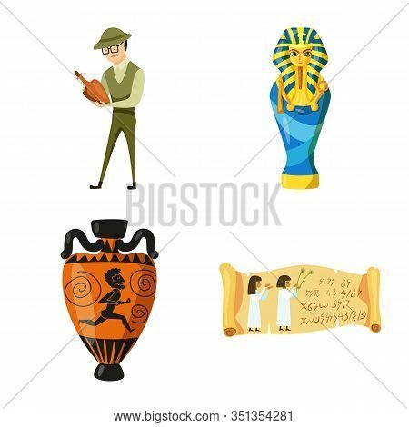 Vector Design Of Archaeology And Historical Logo. Set Of Archaeology And Excavation Stock Vector Ill