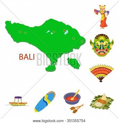 Isolated Object Of Bali And Indonesia Logo. Collection Of Bali And Caribbean Vector Icon For Stock.