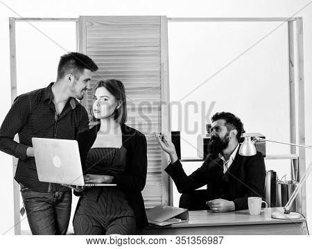 Woman Attractive Lady Working With Men. Office Collective Concept. Sexual Attraction. Stimulate Sexu