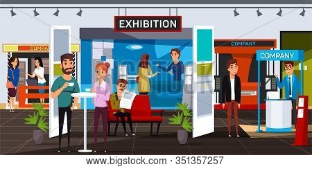 Business Exhibition Flat Vector Illustration. Corporate Exposition Visitors And Exhibitors Cartoon C